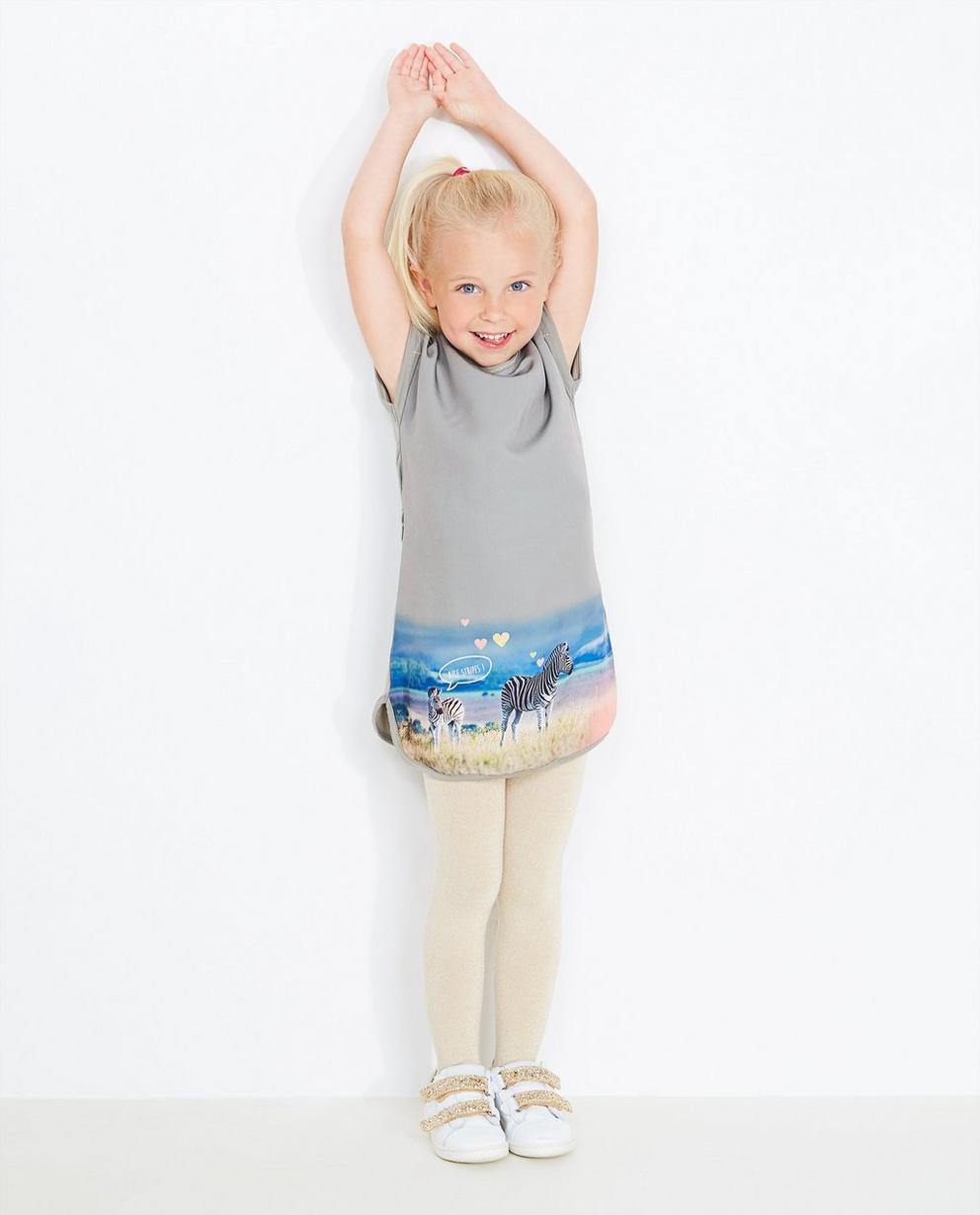 Kaki jurk met fotoprint - en glitterend knooplint - JBC